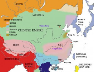 Foreign spheres of influence in China by 1911