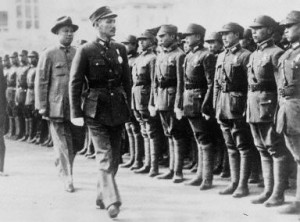 Chiang inspecting the cadets at Huangpu