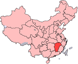 Location of Jiangxi province