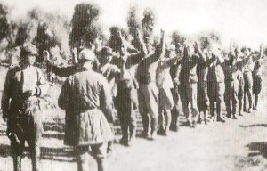 Japanese soldiers surrendering in 1945