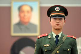 A female soldier at Tiananmen Square