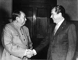 Mao with President of the US Richard Nixon who visited China in 1972, marking a thaw in China-US relations